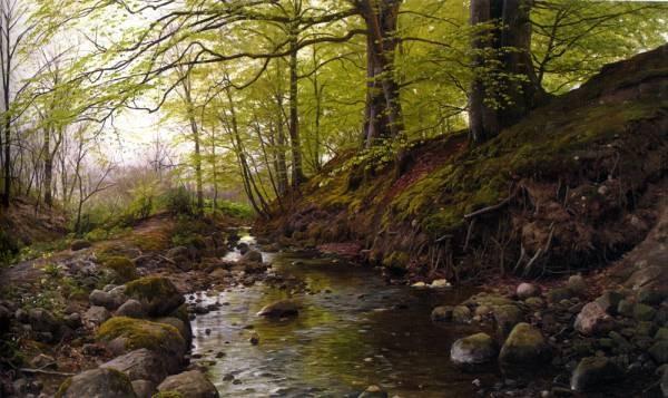 Peder Monsted Vandlob I Skoven Stream in the Woods 1905
